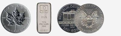 Silber - Münzen und Barren